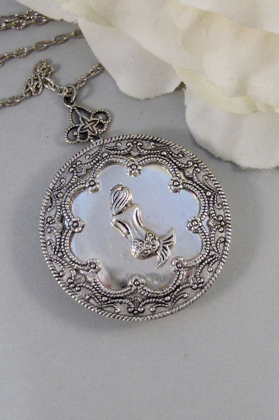 Mermaid's Tale,Locket,Mermaid, Mermaid Locket,Antique Locket,Silver Locket,Goddess,Ocean Locket,Handmade jewelry by valleygirldesigns on Etsy, $32.00