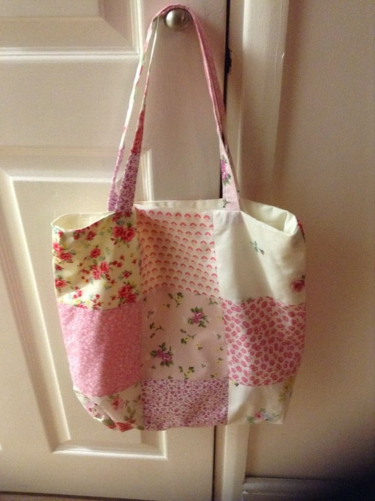 Patchwork lined tote bag.