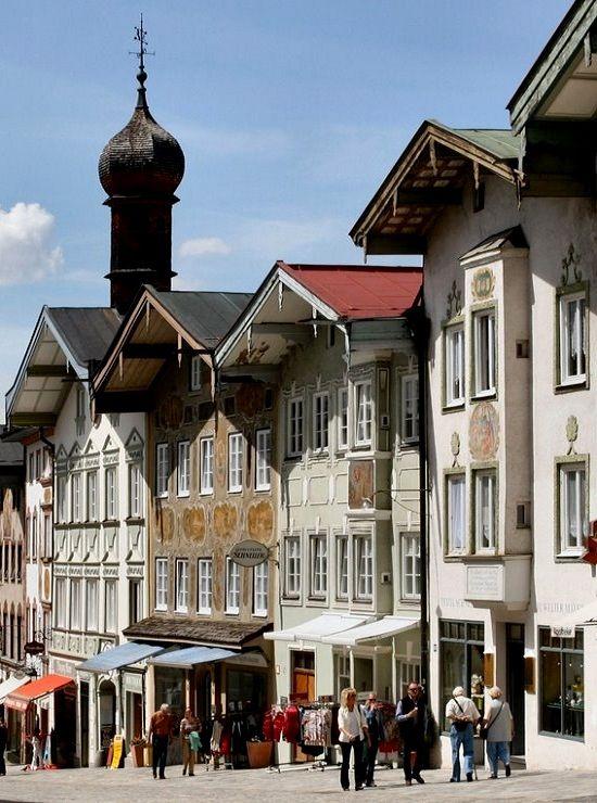 Markt Street in Bad Tölz, Bavaria, Germany