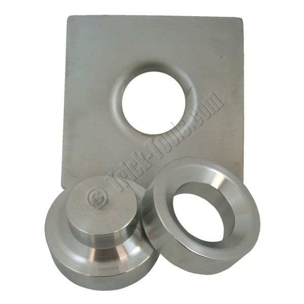 """These dimple dies by JMR add that """"trick"""" look to any fabrication project and help strengthen panels with lightening holes.  Commonly used in an ironworker or press, these dies can handle up to 1/8 inch 4130.  Sold in sets or individually."""