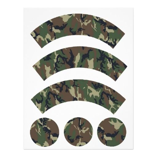 Military Forest Camouflage Cupcake Wrapper Letterhead Template