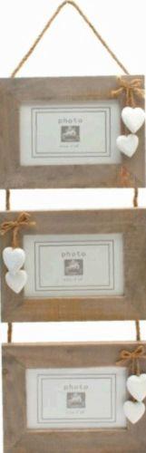 Multi-Photo-Frames-Triple-Wooden-Hanging-Photo-Frames-White-Heart-Decoration-6x4