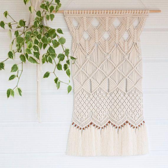Macrame colgante de pared / / arte fibra / / tapiz / / tejido / tejido arte de la pared / / decoración para el hogar / boda Bohemia / natural algodón / /