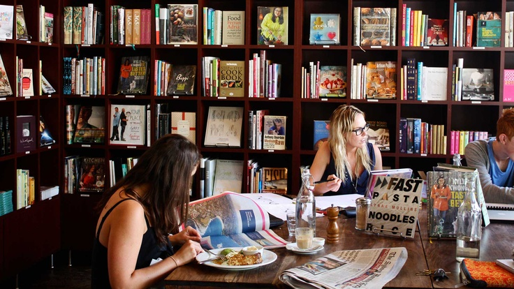 The Book Kitchen, Sydney.   Bookstore/cafe by day, intimate restaurant by night.