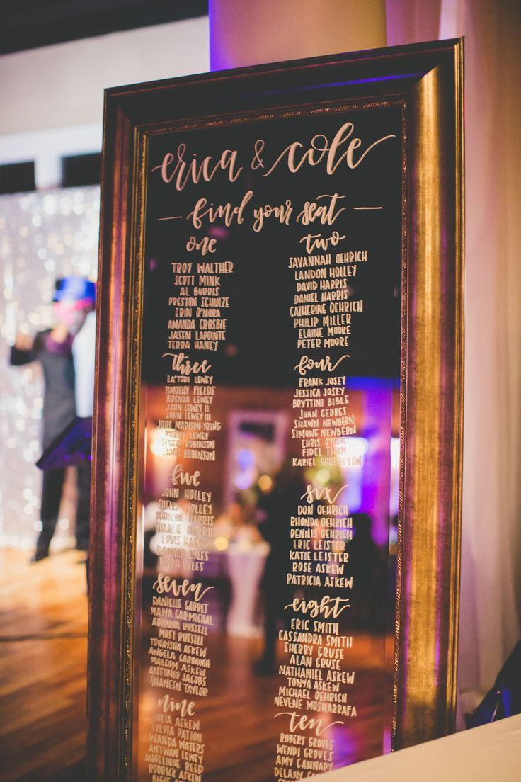 Nicole Piper Photography | Make My Day Wedding & Event Planning | Chelsea Olson Calligraphy | Seating Chart | Mirror Seating Chart | Calligraphy
