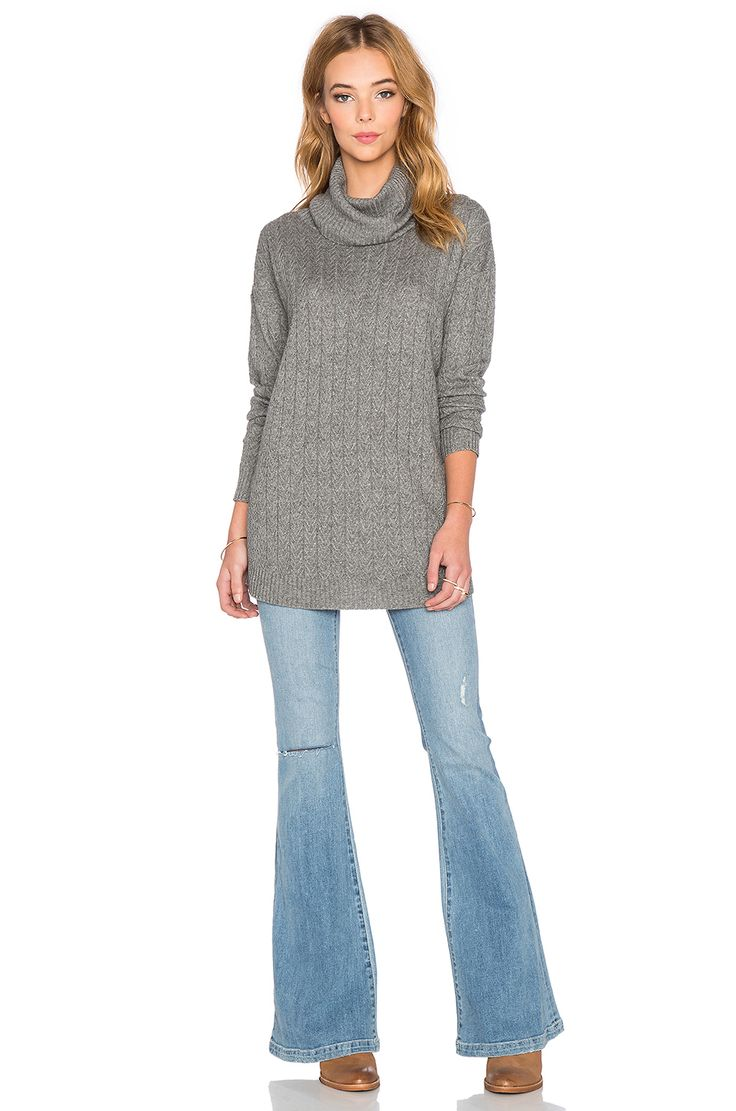 three dots Funnel Neck Tunic Sweater in Granite