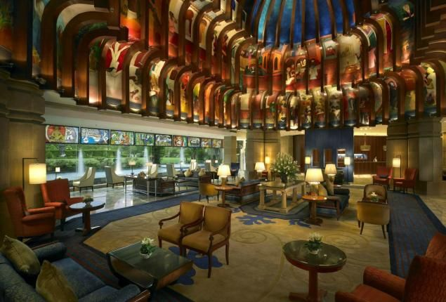 The lobby of the ITC Maurya hotel in New Delhi, where Presidents Obama, George W. Bush and Clinton have all stayed.