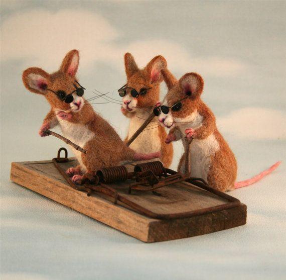 2012 TOBY Award 3 Blind Mice  with a Vintage Rat Trap Artist OOAK Doll Bear by ODACA Artist Stevi T