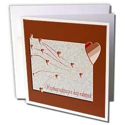 """Beverly Turner Valentine Design - Wszystkiego najlepszego z okazji walentynek, Happy Valintines Day in Polish, Copper Hearts - Greeting Cards-6 Greeting Cards with envelopes by Beverly Turner Photography. $10.49. Wszystkiego najlepszego z okazji walentynek, Happy Valintines Day in Polish, Copper Hearts Greeting Card is a great way to say """"thank you"""" or to acknowledge any occasion. These blank cards are made of heavy duty card stock with a gloss exterior and a matte int..."""