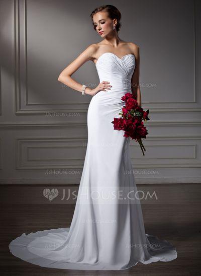 Wedding Dresses - $119.99 - Mermaid Sweetheart Court Train Chiffon Wedding Dress With Ruffle Beadwork (002006370) http://jjshouse.com/Mermaid-Sweetheart-Court-Train-Chiffon-Wedding-Dress-With-Ruffle-Beadwork-002006370-g6370