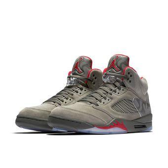 Men's Gray Air Jordan 5 Retro Basketball Shoes