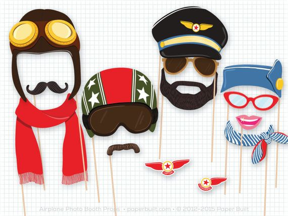 Airplane party guests will love these photo booth props - perfect for a birthday party, baby shower, and more. From a vintage pilot helmet and moustache to a stewardess cap and aviator glasses, we have all the props to transform your guests into airplane personnel. You will receive a PDF of 15 aviator themed photobooth props with this listing.  The backgrounds shown in the pictures are not included in this listing. My airplane themed backgrounds are listed separately here: Coming soon!  Want…