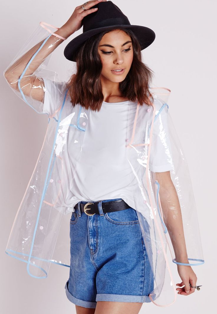 Clear Hooded Rain Mac With Pastel Trim - Festival Jackets - Coats and Jackets - Missguided size S/M I really want this!!!!!!!!!!!!!