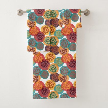 Autumn yellow green turquoise leaves pattern bath towel set - floral gifts flower flowers gift ideas