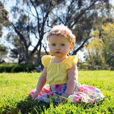 http://lillyandlace.com.au/product/baby-child-flower-crown-coral-gold-floral-side-set/ Coral Gold Ivory Flower Baby Crown
