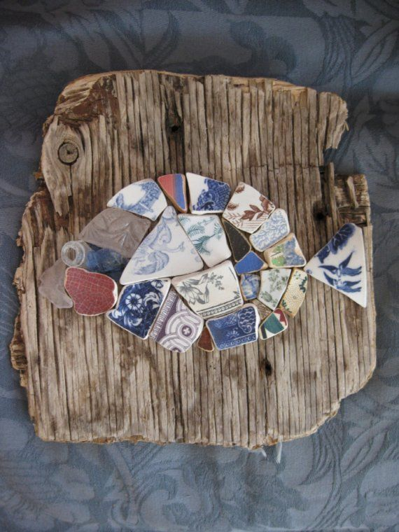 Pottery Shard Seaglass Mosaic Fish on Driftwood (link is broken, but it sure it a neat idea)