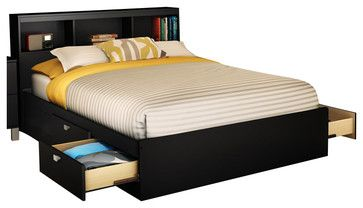 South Shore Affinato Full Mates Storage Bed Frame Only in Solid Black Finish - Transitional - Beds - Cymax