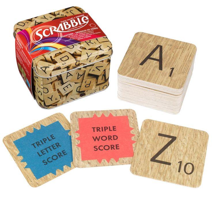 Scrabble Coasters in a Tin