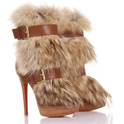 louboutin toundra boots   ... Louboutin Toundra Coyote-Fur Trimmed Nappa Leather Ankle Boots Brown