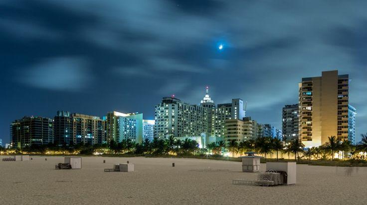 Miami Beach at night by Dereje Belachew