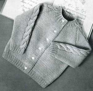 Vintage Kids Raglan Cardigan Sweater Knitting Pattern. $2.99, via Etsy.