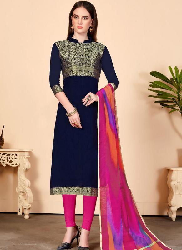 476cbe7960 Navy Blue Jacquard Silk Party Wear Churidar Salwar Kameez #salwarkameez  #salwarsuits #designerdresses #