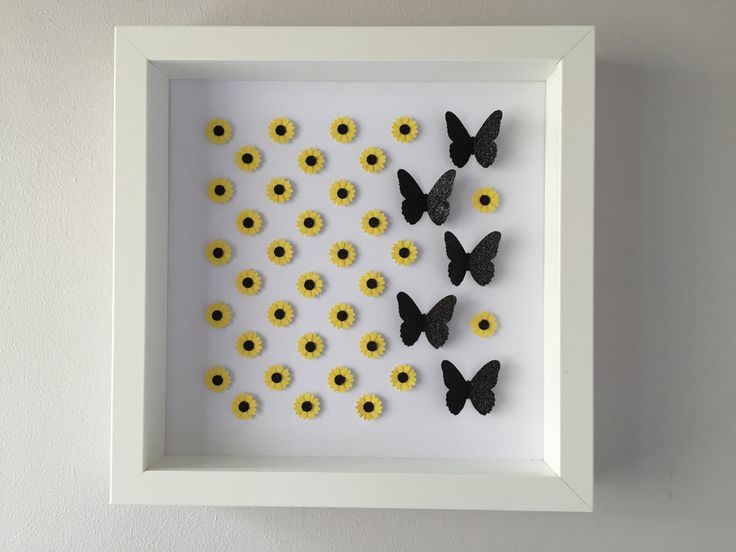 Image of Sunflowers/Butterflies - Small - Classic Sunflower and Black Glitter Butterflies