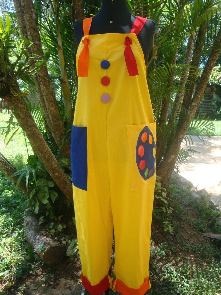 Roupa de palhaço - macacão e boina: Macacão Paleta amarelo