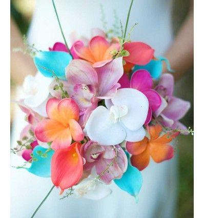 Düğün veya nikah için turuncu, pembe ve turkuaz  orkide, papatya, gül gibi gerçekçi yapay çiçeklerden oluşan gelin buketleri Süslü Collection'da!