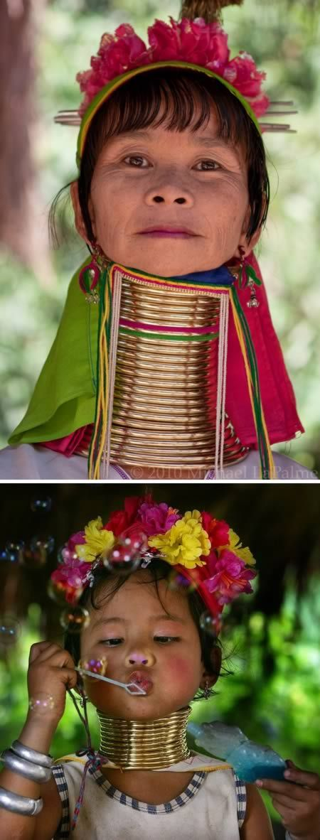 "The Kayan women of Northern Thailand are known for the exquisite and incredible brass coils they wear around their necks. They are often called the ""long necks"" or the ""giraffe women"" by outsiders and can wear up to 25 coils, which many never take off."