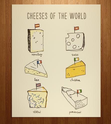 Cheeses Of The World Letterpress Print | Art Prints | Nane Press | Scoutmob Shoppe | Product Detail