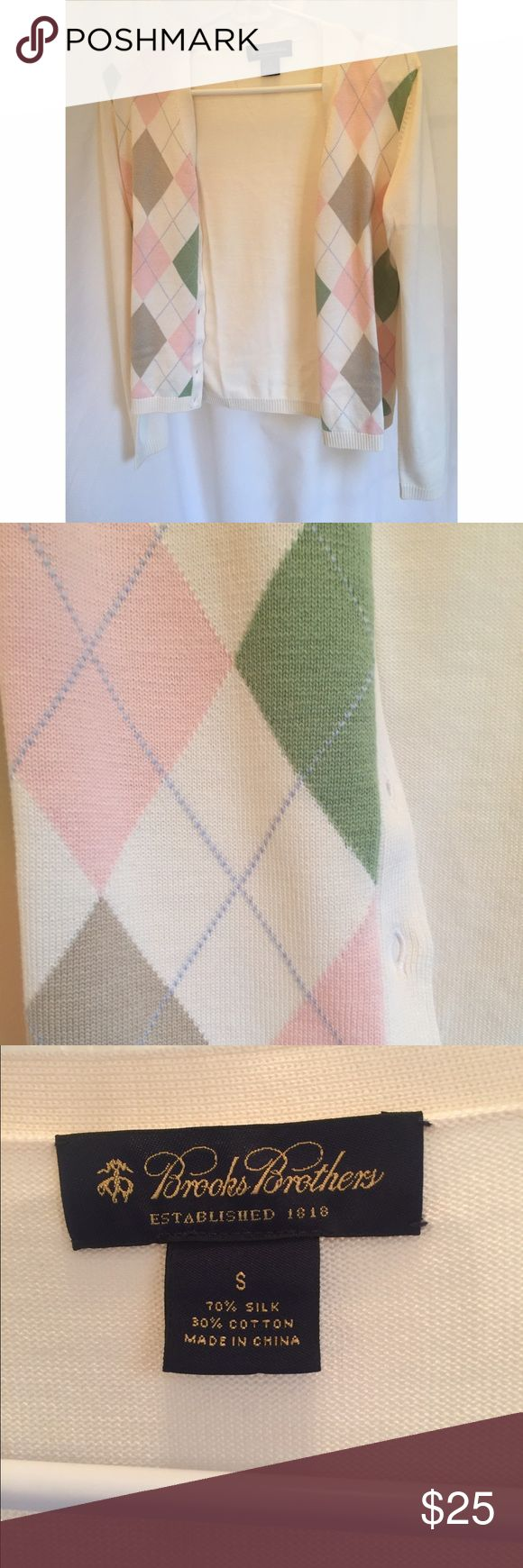 Brooks Brothers Preppy Silk Blend Argyle Sweater Pretty pastel sweater for the prep in all of us! The perfect layering piece- would look great with jeans and a casual shirt or a pencil skirt for work meetings. 70% silk, 30% cotton. Brooks Brothers Sweaters Cardigans