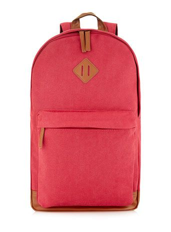 RED WASHED CANVAS BACKPACK