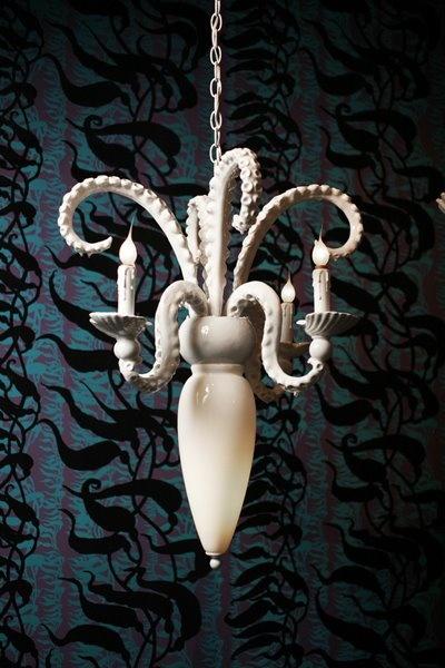Baroque chandelier - Octopus - by Adam Wallacavage - read more: http://myartistic.blogspot.com/2008/09/140908-adam-wallacavage-lampadari.html