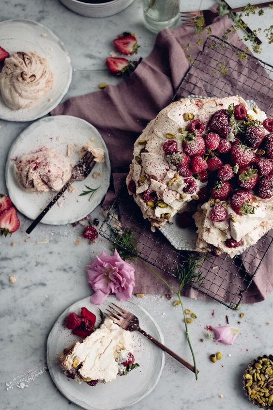 Pavlova Cake with Summer Berry Cointreau - Christiann Koepke