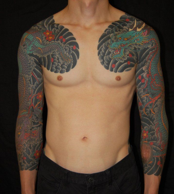 Traditional japanese dragon tattoo sleeves by shinji for Oriental tattoo