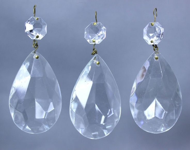 Antique Chandelier Lamp Glass Crystal Teardrop Pendalogue Prisms Lot of 3 As Is