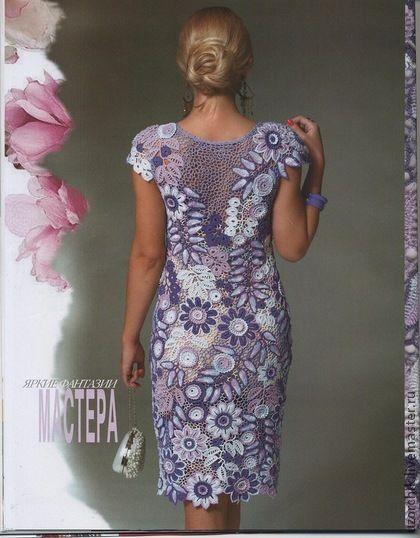 Платье Аметист. Нарядное  многоцветное платье в технике ирландского кружева связано вручную крючком из хлопка  с небольшим добавлением люрекса. Авторская работа, опубликована в Журнале Мод.  Связано для школьного выпускного вечера.