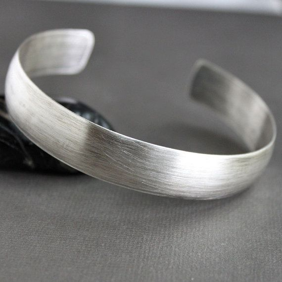 Mens Simple Cuff Bracelet Sterling Silver Wide Rustic Band