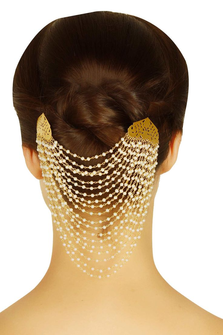 Gold plated multiple pearl chain headgear available only at Pernia's Pop Up Shop.