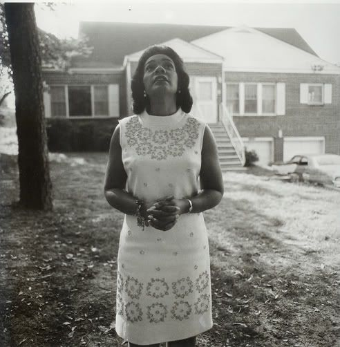 Coretta Scott King on the day of her husband's funeral. 1968. Sunset Avenue, Atlanta, Ga. Diane Arbus.