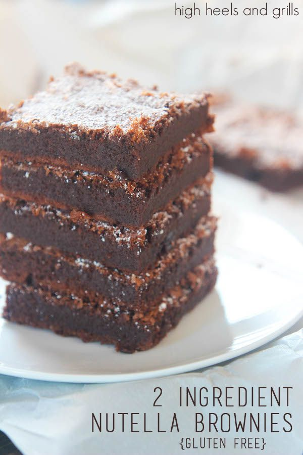 2 Ingredient Nutella Brownies {Gluten Free} - High Heels and Grills