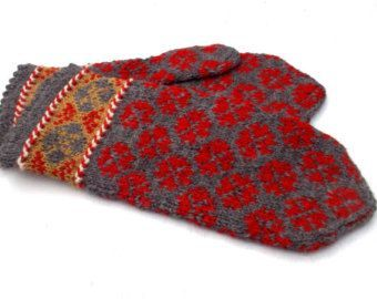 hand gebreide wollen warm grijs rood wanten met patroon wanten brei Letse wanten handknit handschoenen breien winter handschoenen etnische op bestelling gemaakt