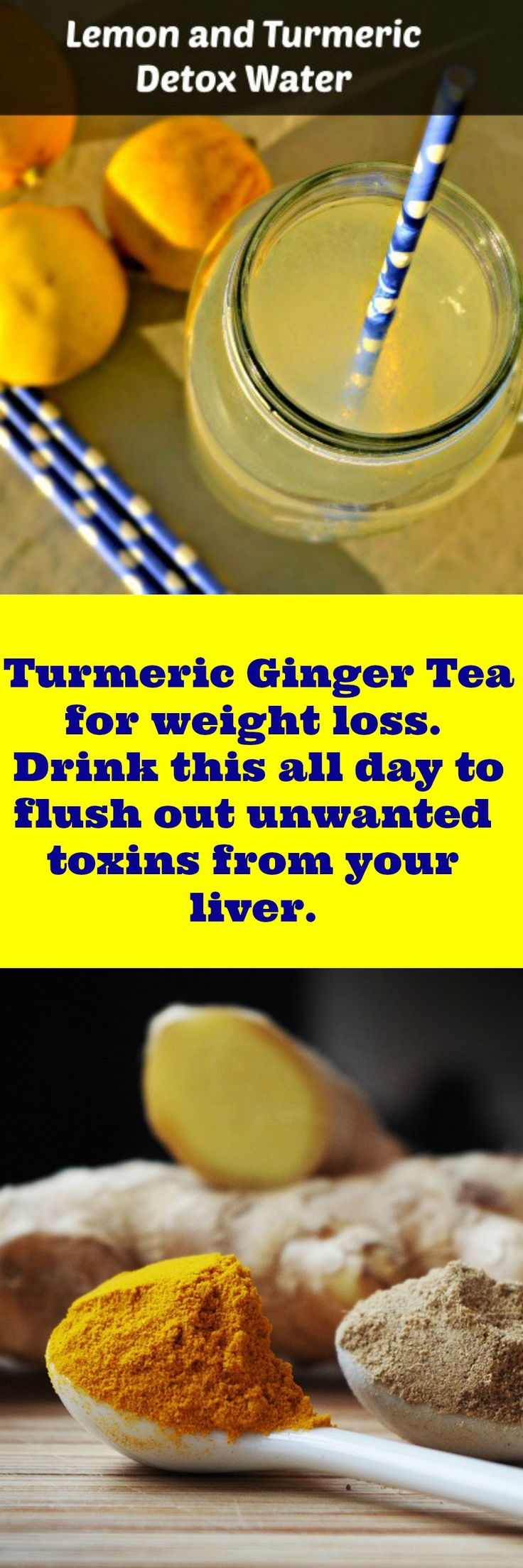 You need to try this Turmeric Ginger Tea for weight loss. Drink this all day to flush out unwanted toxins from your liver.Cleanse and detox for weightloss. Lose weight and gain more energy.