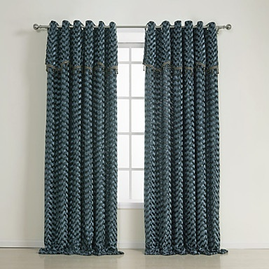 (Two Panels) Traditional Velvet Blue/Grey Lined Curtains – USD $ 129.99