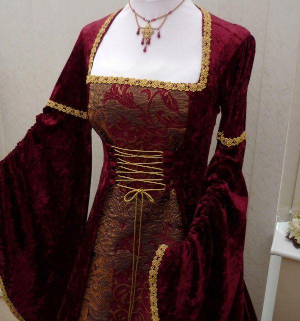 42 Best Renaissance Wedding Dress Images On Pinterest: Renaissance Burgundy Velvet And Tapestry Dress,