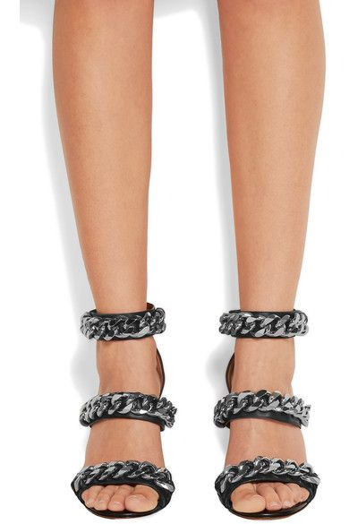 Givenchy - Chain-embellished Sandals In Black Leather - IT