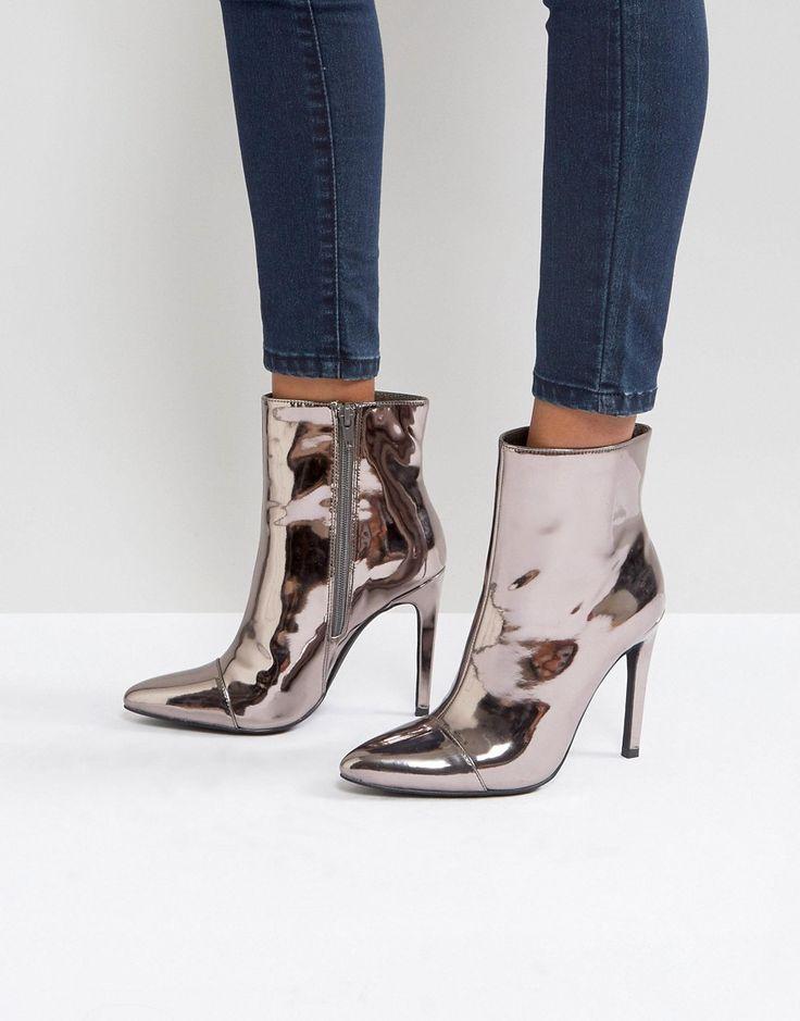 Damen Stiefelette luxus Heels Stiletto Stiefel Plateau Boot ni9x Hellbraun 39