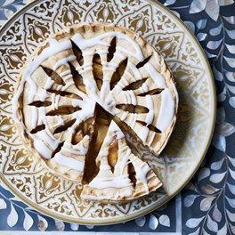 Pear, lemon and rose-water tart