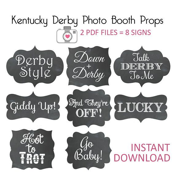 Kentucky Derby Photo Props - Derby Bridal Shower - Derby Party - Horse Racing - Race To The Altar - Derby - KY Derby - Chalkboard